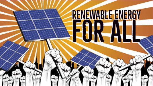 "an illustration of a field of hands in front of a sunburst. some are holding solar panels like protest signs. Words over the top say ""Renewable energy for all!"""