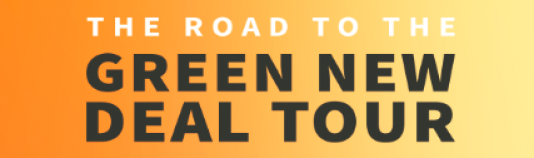 """The Road to the Green New Deal Tour"" words on an orange background"